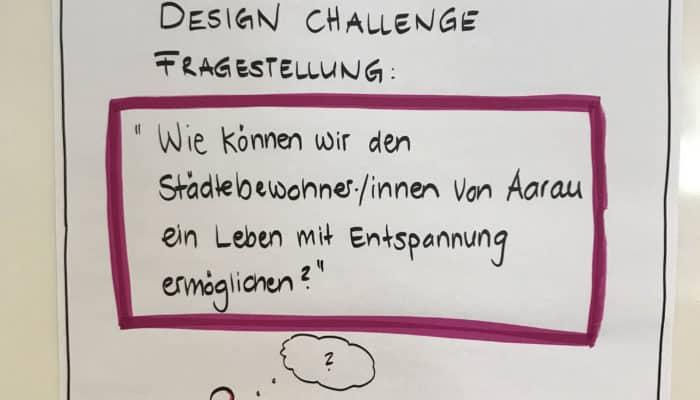 Foto des Flipcharts mit der Design Challenge