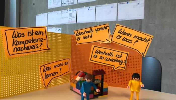 Lego Figuren mit Postit Zetteln im HIntergrund