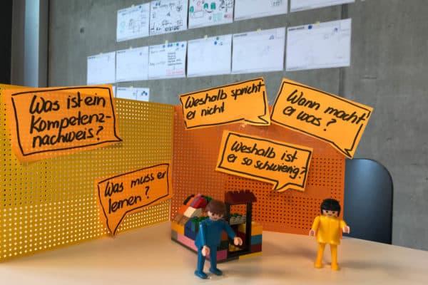 Prototyp orange mit Postits
